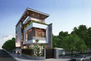 Vật liệu kính luôn được tận dụng triệt để trong các mẫu thiết kế nhà phố có 2 mặt tiền nhằm tận dụng được nguồn sáng và luồng gió tự nhiên.