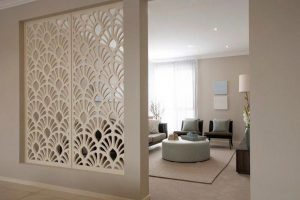 Ngày nay, vách ngăn CNC được ứng dụng rất nhiều để trang trí cho phòng khách. Việc bố trí một bức vách CNC với họa tiết đẹp vừa trang trí, lại tạo điều kiện cho không khí lưu thông dễ dàng, tạo sự thoáng mát.