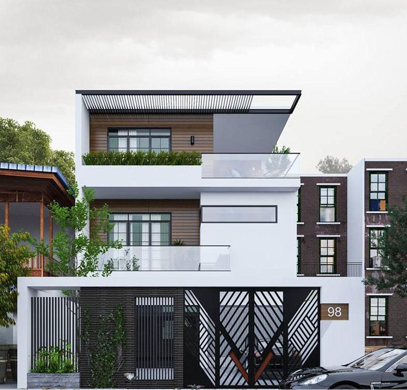 nhà 3 tầng mái bằng