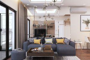 . Chất liệu gỗ, tráng men, vân đá, da bọc sofa là các chất liệu phổ biến được nhiều gia chủ tin dùng khi thiết kế phòng khách.