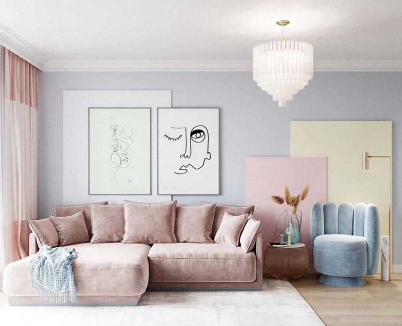 thiết kế phòng khách màu sắc