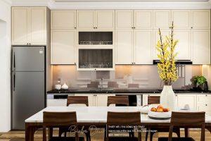-Kiểu dáng tủ bếp chữ I: Có độ bền và tính thẩm mỹ cao. Được thiết kế bằng chất liệu gỗ tự nhiên hay gỗ công nghiệp.