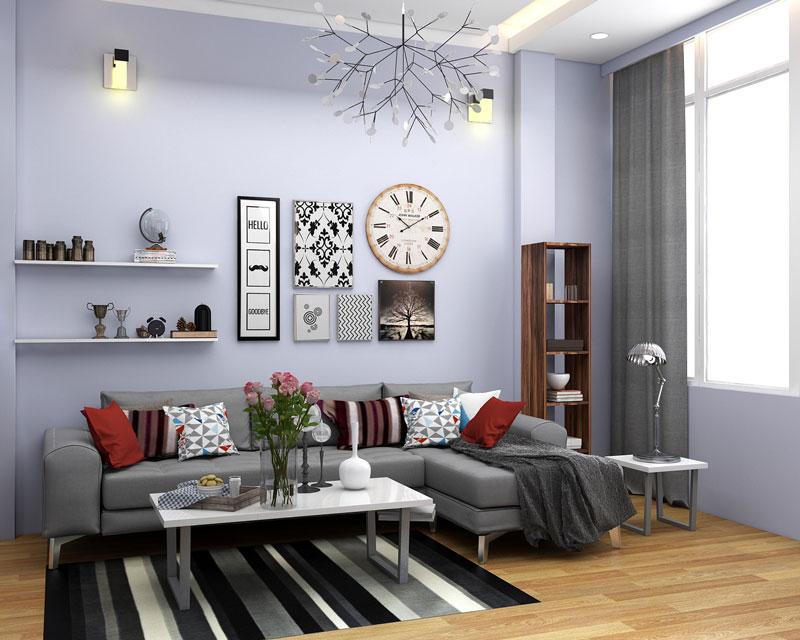 thiết kế phòng khách phong thuỷ màu sắc