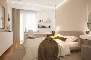 Màu sắc sử dụng khi thiết kế phòng ngủ 20m2 nên là 3 đến 4 màu. Cách phối hợp màu sắc cũng được áp dụng theo công thức 6 – 3 – 1. Tức là 6 phần màu chính, 3 phần màu phụ, 1 phần màu nhấn.