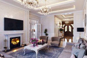 Thiết kế chung cư 3 phòng ngủ theo phong cách Tân Cổ Điển thường cần có diện tích tối thiểu là 100m2.