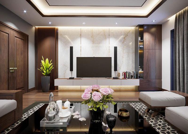 thiết kế nhà chug cư đẹp 70m2 phòng khách